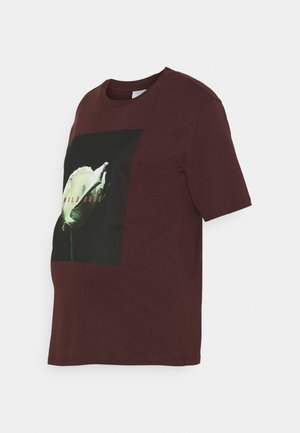 PCMRUME TEE - T-shirt imprimé - decadent chocolate/big rose