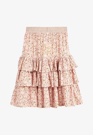 PINK METALLIC WAISTBAND FLORAL SKIRT (3-16YRS) - Áčková sukně - pink