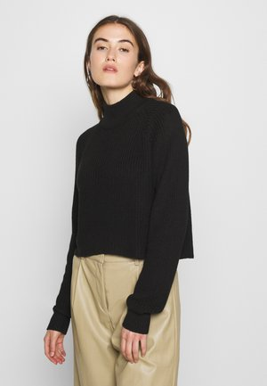 CROPPED PERKIN NECK - Strickpullover - black