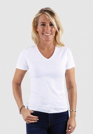 V NECK VENUS - Basic T-shirt - white