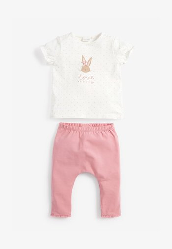 BUNNY SET - Leggings - Trousers - pink/off-white