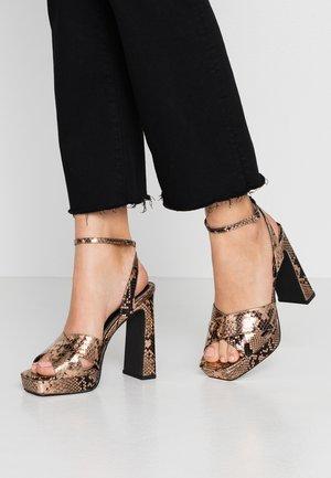 SOFIA CROSSOVER PLATFORM - High heeled sandals - bronze