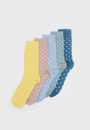 POLKA DOT 5 PACK - Sukat - yellow/light blue/petrol