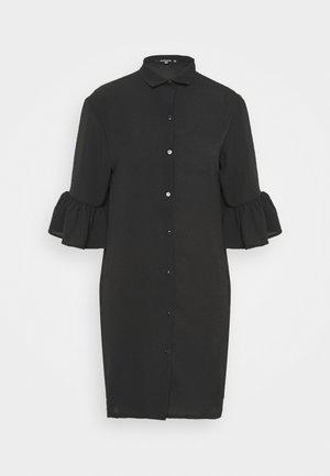 FRILL CUFF DRESS - Shirt dress - black