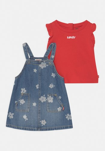 SET - T-shirt print - blue denim/red