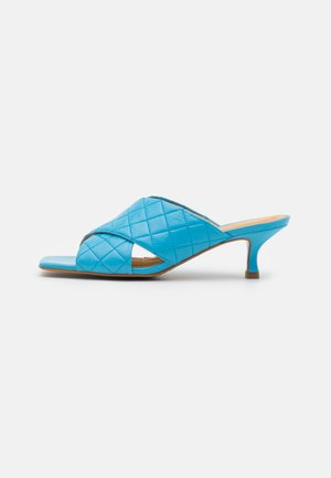 Heeled mules - clear blue