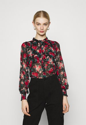 VIBROOKLY - Blouse - black/jester red