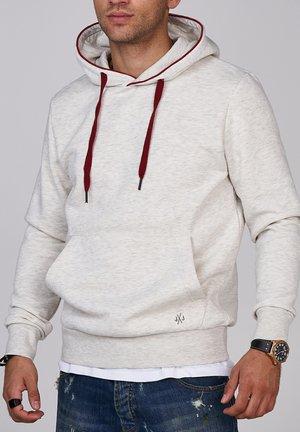 Hoodie - white melange/brick red