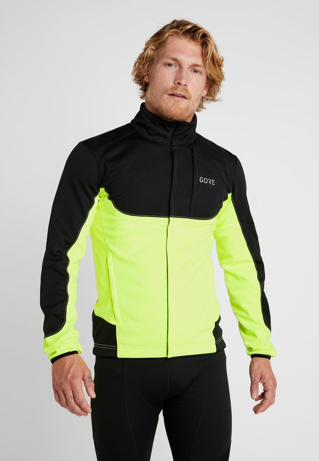 THERMO TRAIL - Fleecejas - black/neon yellow