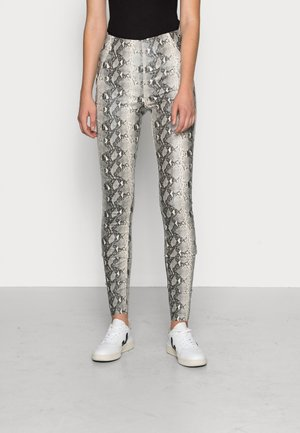 OBJBELLE COATED  - Leggings - Trousers - grey