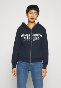 Abercrombie & Fitch - FULL ZIP - Zip-up hoodie - navy - 0