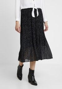 New Look - CANDICE SPOT PLEATED MIDI - A-line skirt - black - 0