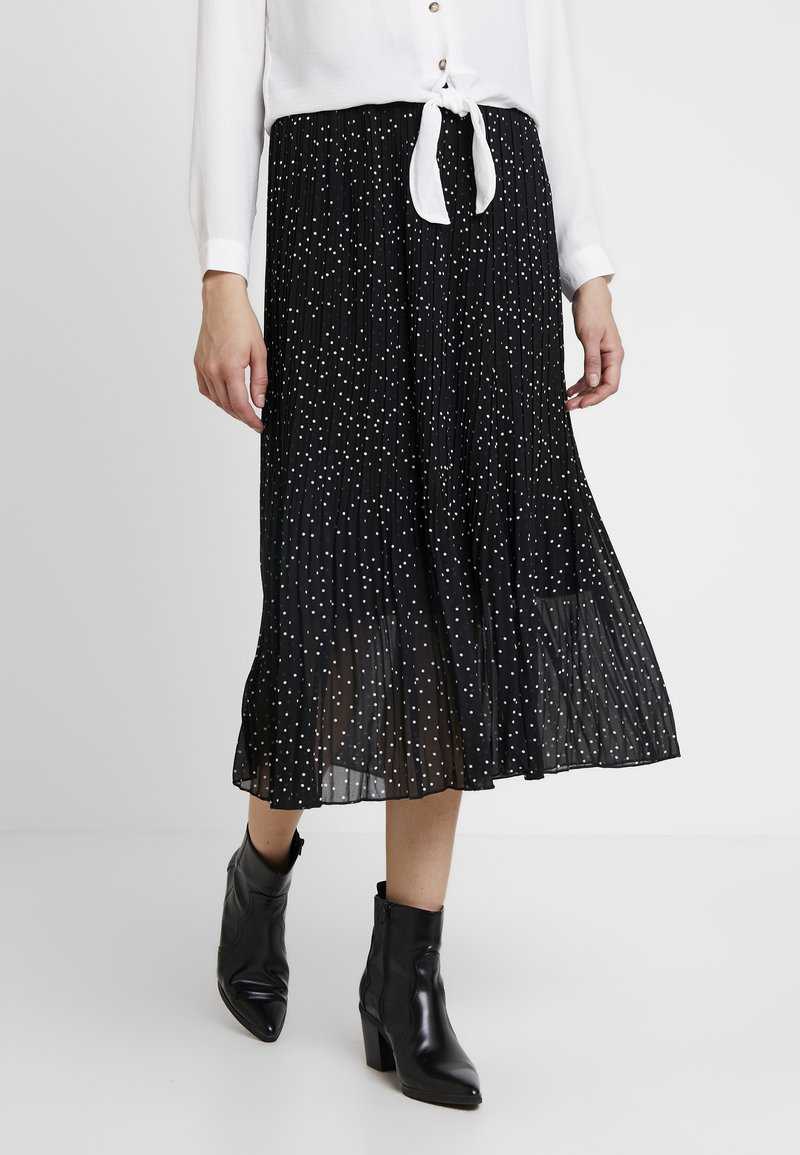 New Look - CANDICE SPOT PLEATED MIDI - A-line skirt - black