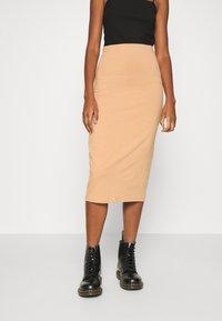 Even&Odd - 2 PACK - Pencil skirt - black/camel - 1
