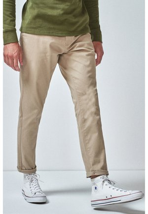 DARK BLUE TAPERED SLIM FIT STRETCH CHINOS - Chinos - beige
