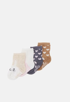 HEART RABBIT 4 PACK - Socks - grey/pink/mustard yellow