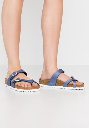 MAYARI - T-bar sandals - icy metallic/azure blue