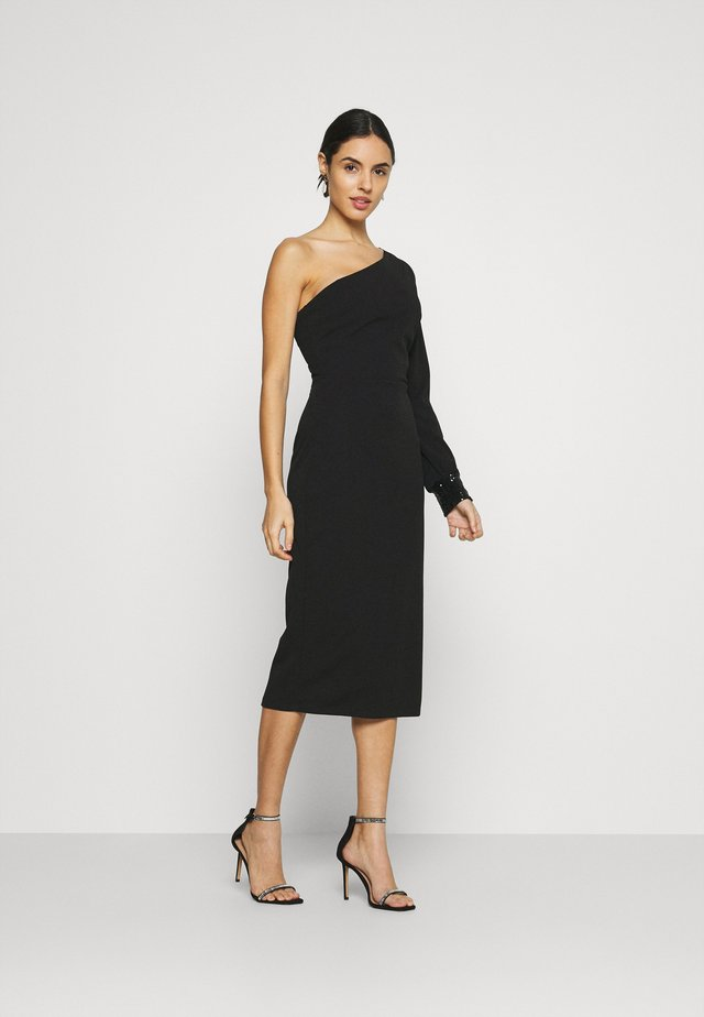 OLIVIA ONE SLEEVE MIDI DRESS - Pouzdrové šaty - black