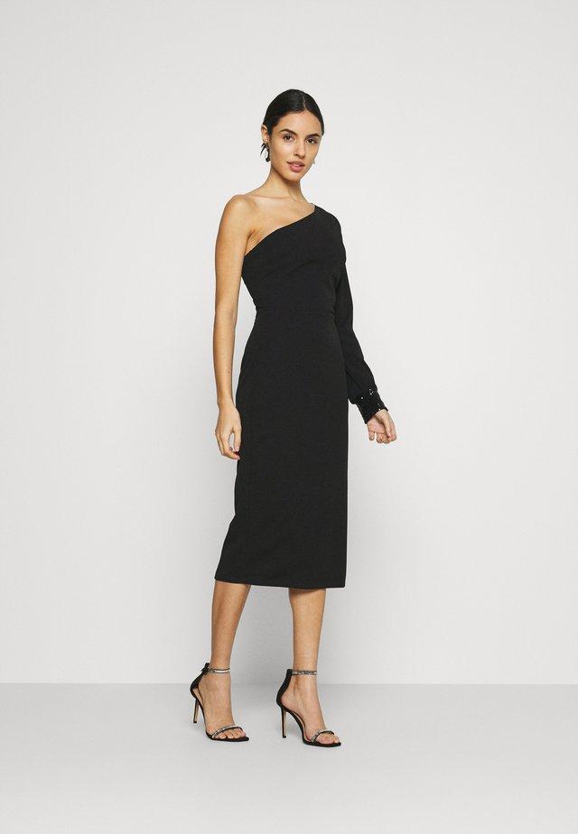 OLIVIA ONE SLEEVE MIDI DRESS - Shift dress - black