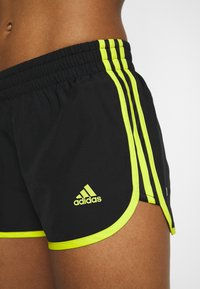adidas Performance - SHORT - Pantaloncini sportivi - black/acid yellow - 4