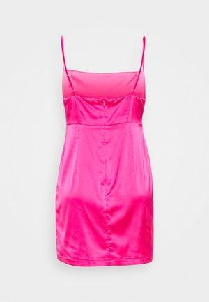 PLEAT DETAIL STRAPPY BODYCON MINI DRESS - Vestido de cóctel - pink