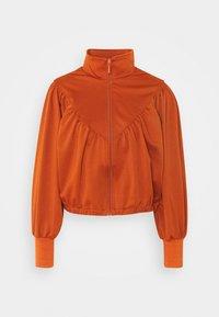 ONLFRYA HIGHNECK ZIP BOX - Zip-up hoodie - umber