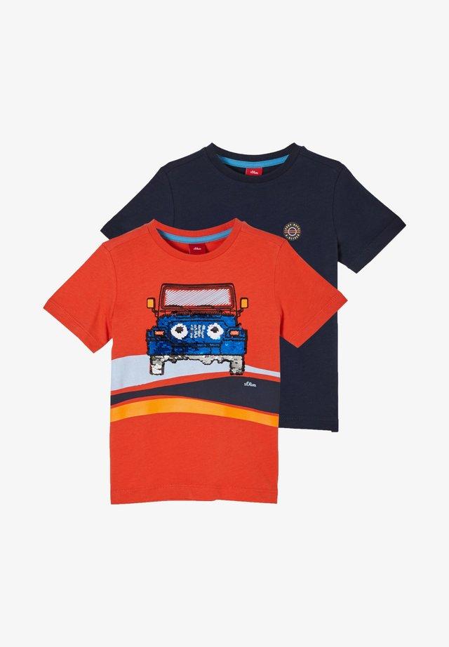 2 PACK - T-shirt print - orange placed print/navy