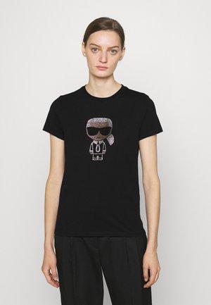 IKONIK RHINESTONE KARL - T-Shirt print - black