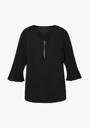 FRONT FRILL SLEEVE  - Bluser - black