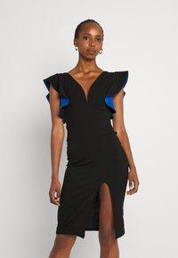 WAL G. - V NECK RUFFLE SLEEVE MIDI DRESS - Cocktail dress / Party dress - black/royal blue - 0