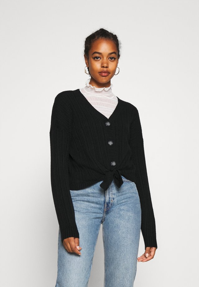 BUTTON THRU TIE FRONT - Strickjacke - black