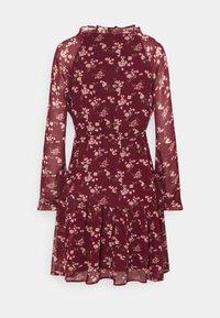 American Eagle - RUFFLE NECK BABYDOLL - Day dress - burgundy - 1