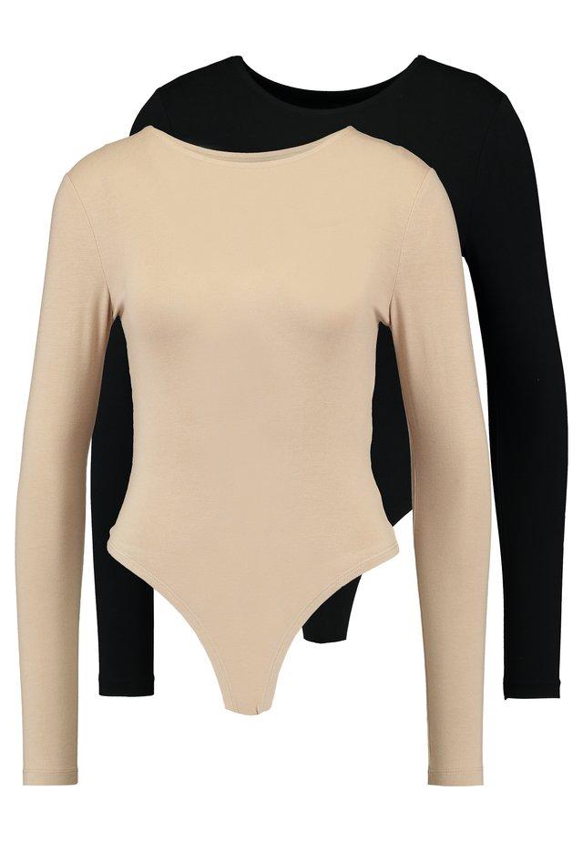 2 PACK - Maglietta a manica lunga - tan/black