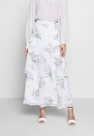 FLORAL PRINT TIERED MAXI SKIRT - Maxi skirt - ivory