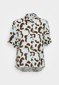Monki - BITTY BLOUSE - Button-down blouse - offwhite/light blue - 4