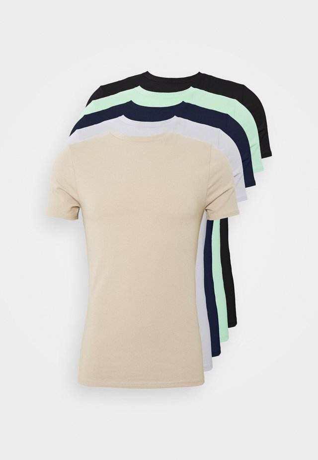 5PACK  - T-shirt basic - stone/white/blue/green/black