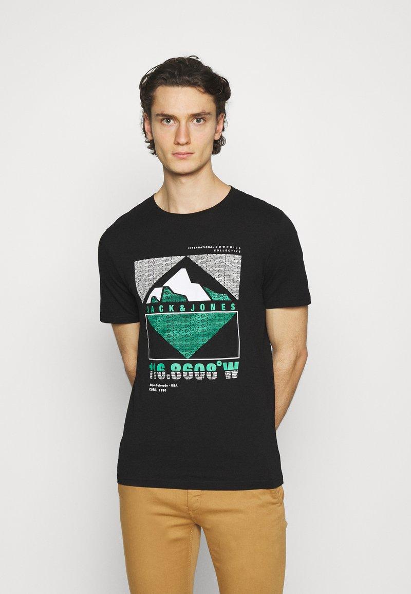 Jack & Jones - JCOCHRIS GIBS TEE CREW NECK - Print T-shirt - black