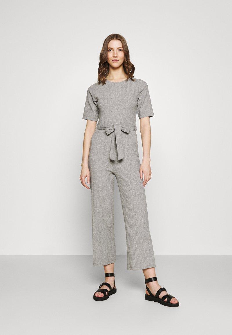 Even&Odd - BASIC - Ribbed short sleeves belted jumpsuit - Jumpsuit - mottled grey