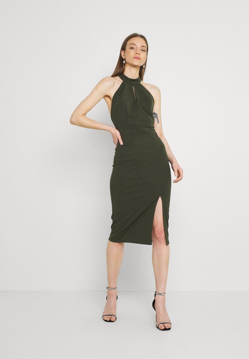 WAL G. - JAYNE LEE HALTER NECK DRESS - Cocktail dress / Party dress - khaki