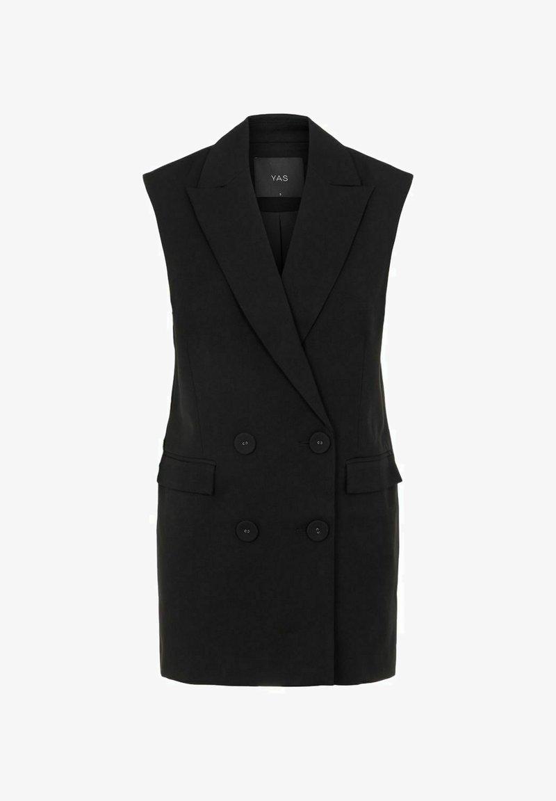 YAS - YASCORNFLOWER LONG WAISTCOAT - Waistcoat - black