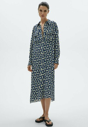 MIT GEOMETRISCHEM PRINT - Shirt dress - blue