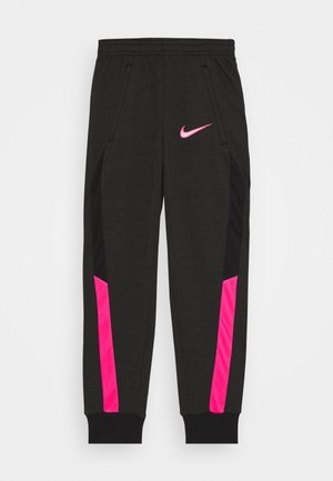 DRY ACADEMY - Tracksuit bottoms - dark smoke grey/heather/hyper pink/hyper pink