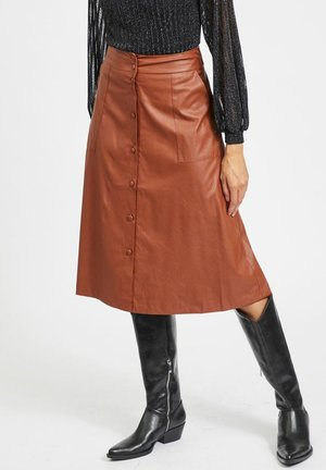 VIASENNA MIDI COATED SKIRT - Gonna a campana - tobacco brown