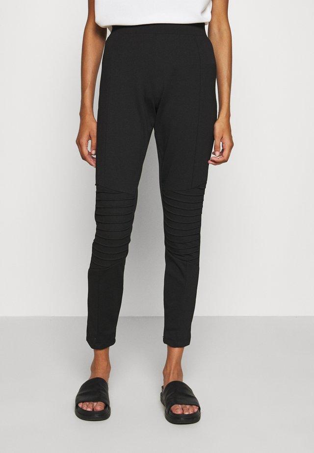 BIKER PANTS - Spodnie materiałowe - black