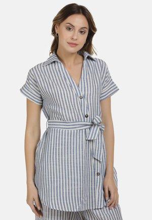 Button-down blouse - blau weiss