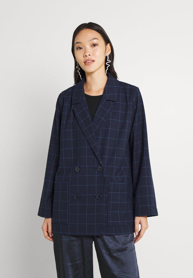 Monki - Blazer - blue dark/grid
