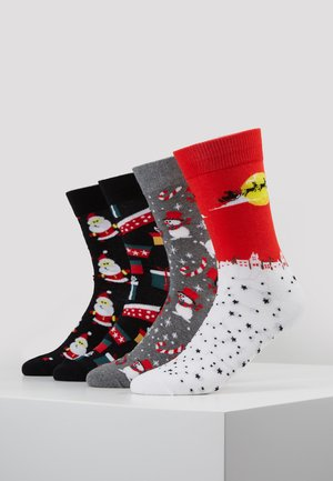 JACLAND AND SNOW 4 PACK - Chaussettes - black/ light grey melange