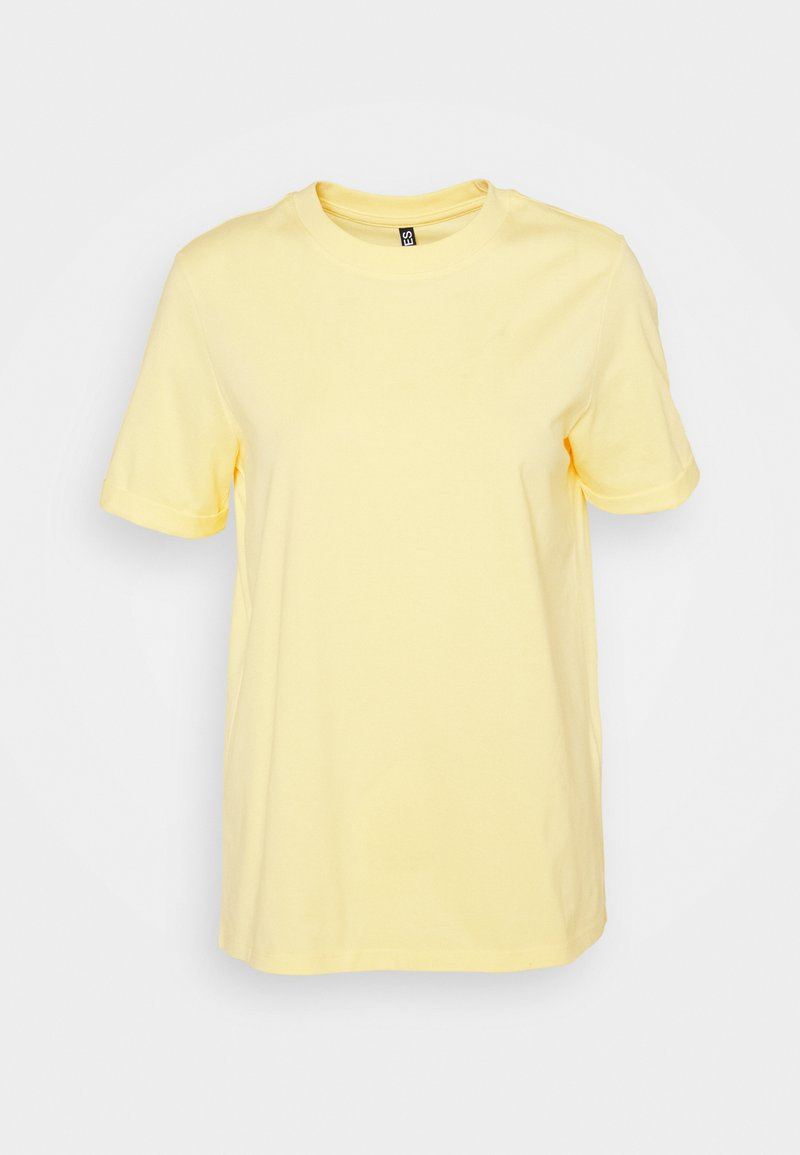 Pieces - PCRIA FOLD UP SOLID TEE - Basic T-shirt - pale banana