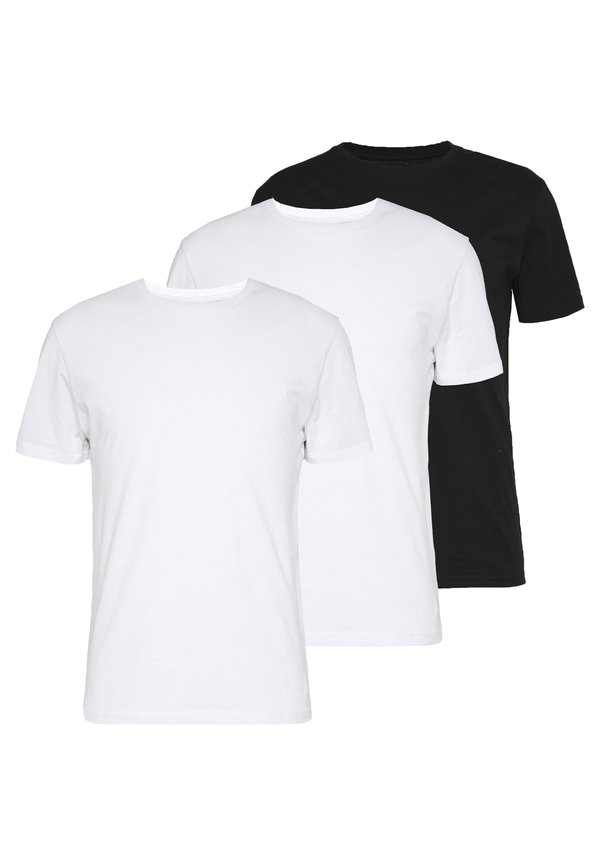 Pier One 3 PACK - T-shirt basic - black/ white/czarny Odzież Męska GSZH