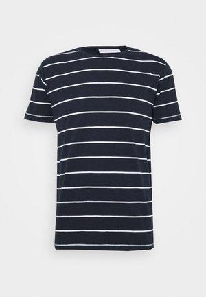 STRIPED SLUB TEE - T-shirt med print - dark blue